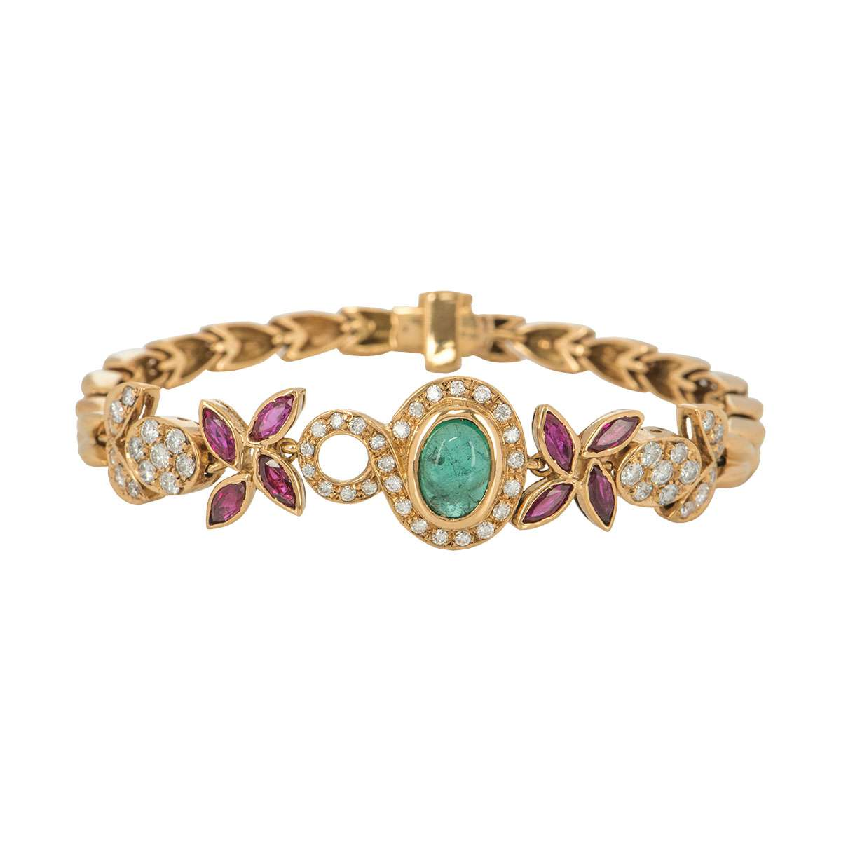Diamond, Ruby and Emerald Yellow Gold Bracelet